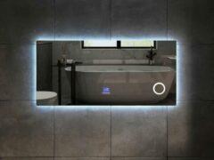 Mawialux LED spiegel   120cm   Rechthoek   Verwarming   Digitale klok   Bluetooth   ML-120NMF