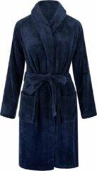 Marineblauwe Relax Company Unisex badjas fleece - sjaalkraag - donkerblauw - maat L/XL