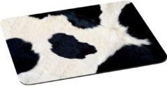 Witte Leukste Winkeltje LeuksteWinkeltje Muismat Koe koeienvacht met textiel toplaag - 22 x 18 cm