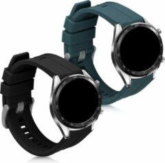 Kwmobile 2x horlogeband voor Huawei Watch GT (46mm) - siliconen band voor fitnesstracker - donkergroen / zwart