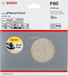 Bosch Schleifblatt M480 Net, Best for Wood and Paint, 150 mm, 80, 5er-Pack VPE: 5