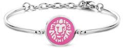CO88 Collection Zodiac 8CB 90326 Stalen Armband met Hanger - Sterrenbeeld Leeuw 15 mm - One-size - Zilverkleurig / Donkerroze