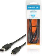 Valueline VLCB62100B20 2m 4-p 6-p Zwart firewire-kabel