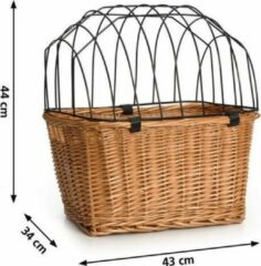Bruine Pet Products Beeztees - Fietsmand+Draadkap - Riet - 43x34x44 cm