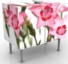 PPS. Imaging Waschbeckenunterschrank - Pink Flowers - Blumen Badschrank Weiß Rosa