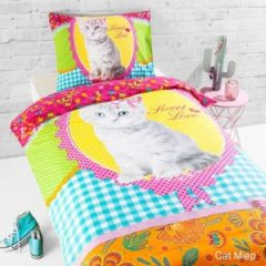 Daydream Day Dream Cat Miep - dekbedovertrek - eenpersoons - 140 x 200 - Multi