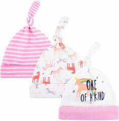 JillyBee - Newborn - Mutsje - Mutsjes - 3pack - Unicorn - Gestreept - Roze - Wit
