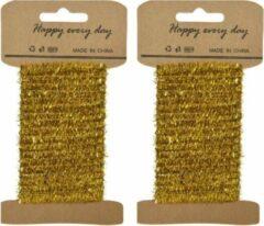 Goudkleurige Decoris 2x stuks goud lametta lint ijzerdraad op rol 200 cm - Hobby ijzerdraad goud - Kerstartikelen