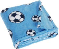 Playshoes fleecedeken voetbal 75 x 100 cm blauw