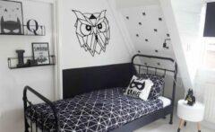Zwarte Drart - Metalen uil 50 cm x 44 cm - metalen wanddecoratie - metal owl
