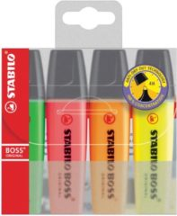 Witte Markeerstift Stabilo Boss Original Etui Van 4 Stuks: Geel, Groen, Oranje En Roze