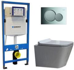 Douche Concurrent Geberit UP 320 Toiletset - Inbouw WC Hangtoilet Wandcloset - Alexandria Flatline Sigma-01 Glans Chroom