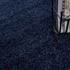 Marineblauwe Himalaya Basic Rond Shaggy vloerkleed Donker Blauw Hoogpolig - 160 CM ROND