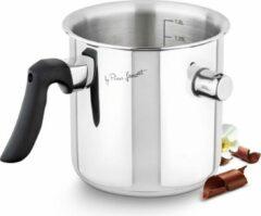 Zilveren Lamart Lait | Dubbelwandig Melkpan met Fluit | 14cm/1,5L | Hoogwaardig roestvrij staal RVS | Maatverdeling | Geschikt voor Inductie, Elektrisch, Glass-Keramik, Gas