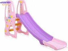 Merkloos / Sans marque Kinderglijbaan in paars roze met basketbalnet