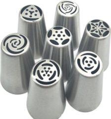 Zilveren Little New Finds The Bakeshop   Russische spuitmondjes set   7 stuks   Voor spuitzak   Garneren   Taarten decoreren   Bloemen