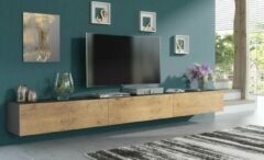 Antraciet-grijze Pro-meubels - Zwevend Tv-meubel - Tv kast - Tunis - Antraciet-Eiken - 300cm 3x100cm