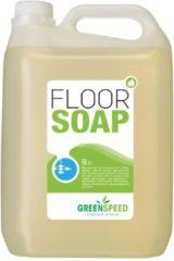 Groene GREENSPEED by ecover Greenspeed vloerzeep met lijnzaadolie, voor poreuze vloeren, citrusgeur, flacon van 5 liter
