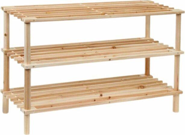 Afbeelding van Fop en Bij Schoenenrek bamboe/hout - 3 laags - Schoenenkast