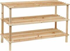 Fop en Bij Schoenenrek bamboe/hout - 3 laags - Schoenenkast