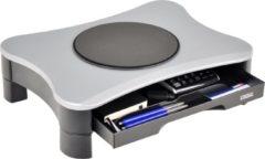 Zwarte DESQ® Monitorsteun met draaiplateau en lade | max. 15kg | hoogte instelbaar 6.5-11cm