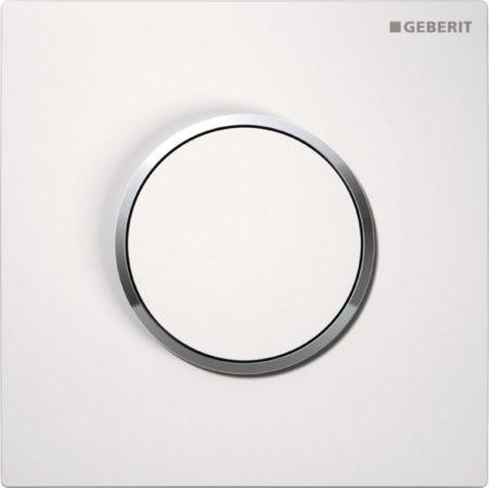 Afbeelding van Witte Geberit HyTouch urinoir stuursysteem pneumatisch met bedieningsplaat Sigma 10 wit glans 116015kj1