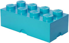 Turquoise LEGO Design Collection Brick opbergbox 8 - Azur blauw