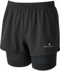 Zwarte Ronhill Women's Tech Marathon Twin Running Shorts - Korte broeken