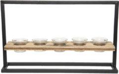 Waxinelichthouder | 44*10*26 cm | Grijs | Ijzer / glas / hout | Clayre & Eef | 6Y3227
