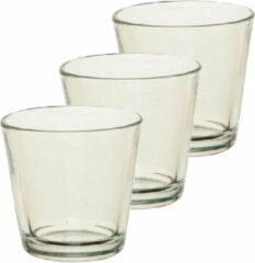 Merkloos / Sans marque 12x stuks theelichthouder/waxinelichthouder transparant glas 7 cm - Glazen kaarsenhouder voor waxinelichtjes