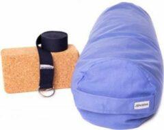 Lichtblauwe Zenzes PRO bolster met yogariem en yogablok - licht blauw