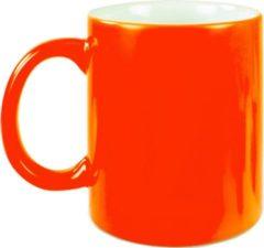 Bellatio Decorations 6x neon oranje koffie/ thee mokken 330 ml - geschikt voor sublimatie drukken - Fluor oranje onbedrukte cadeau koffiemok/ theemok