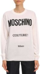 Bianchi Pullover In Pura Lana Vergine Con Maxi Logo Moschino Couture Milano