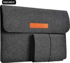 DSGN Laptop Sleeve met Etui 14 inch - Vilten Laptop & MacBook Hoes - Laptophoes - Laptoptas - Laptop Cover Case -Vilt - Extra vakken - Handtas - Zwart/Donkergrijs