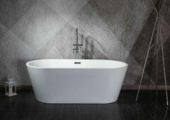 Linea Uno - Design ligbad Teika 160 - Glanzend wit - 165 x 75 x 60 - Vrijstaand - Acryl - Ovaal - 151231