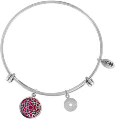 CO88 Collection Chakra 8CB 26007 Stalen Armband met Hangers - Crown Chakra - One-size - Zilverkleurig / Roze