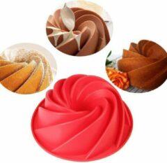 Rode Diamondheart Siliconen Tulband Bakvorm - Cakevorm - 25CM - Diamond-Heart