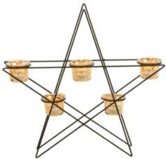 Teelichthalter Shining Star miaVILLA schwarz/goldfarben