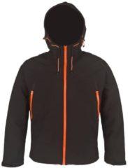 Generic Softshell herenjas met fleece voering zwart/oranje maat XXXXL
