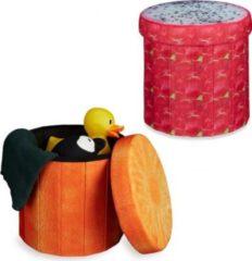 Relaxdays 2x Sitzhocker Sitzwürfel Falthocker Klapphocker Stauraum Drachenfrucht Orange
