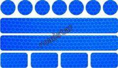 Roadstar Reflecterende Veiligheids stickers blauw - Reflectie tape voor in het verkeer - Maak wandelwagens, koffers, buggy's, skelters, helms, fietsen etc goed zichtbaar in het donker.