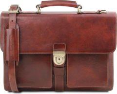 Donkerbruine Tuscany Leather - Leren 3-vaks aktetas 'Assisi' - Bruin - TL141825