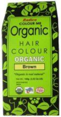Bruine Radico COLOUR ME ORGANIC Brown 100% Natuurlijke BIO Organic 9-Kruiden Haarverf Zonder Ammoniak, Ammonia, PPD, PTD, Peroxide, Waterstofperoxide etc. o.a. Henna 100g