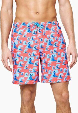 Afbeelding van Blauwe Happy Socks Wave Long Swim Shorts