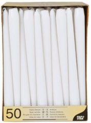 Merkloos / Sans marque Voordeelverpakking witte dinerkaarsen/kandelaarkaarsen - Gotische kaarsen wit 50 stuks 25 cm - Tafel decoratie kaarsen