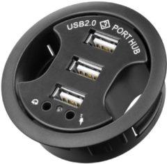 Zwarte Goobay 3-poorts USB2.0 hub met headset aansluitingen voor bureau inbouw - 1,5 meter