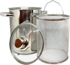Roestvrijstalen Haushalt RVS Aspergepan met Glazen Deksel - 21 cm - 4 Liter