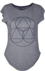 Grijze BiggYoga-Namaste-Shirt-Zwart met geometrisch opdruk-Zacht katoen- S