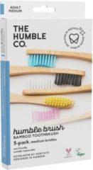 Blauwe The Humble Co Bamboe tandenborstels Medium- Set 5 stuks