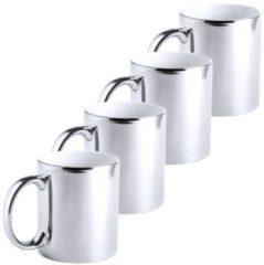 4x Metallic zilveren koffiebekers/theemokken keramisch 350 ml - Servies - Bekers/mokken